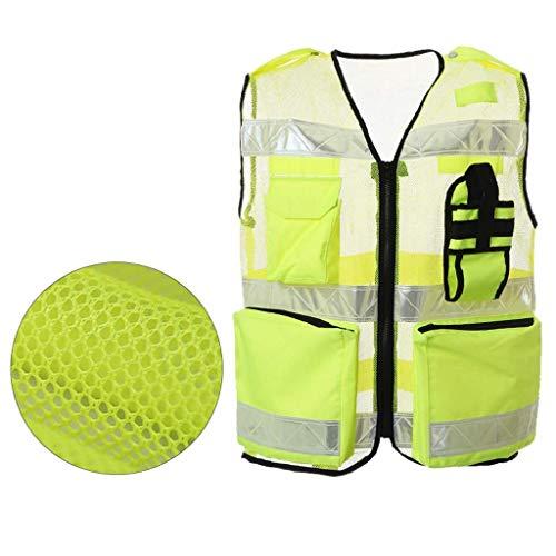DBSCD Sicherheitsweste für Männer, Warnweste Gelbe Sicherheitsweste Baukleidung Jersey-Kleidung Reflektierende Kleidung Mesh Breathable (M)