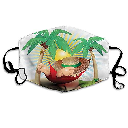 ComfortableWindproofFacecover,Cute Illustration Relax Exotic Summer Holidays on Hammock Theme Hot Paradise Lands,PrintedFacialDecorationsforEveryone