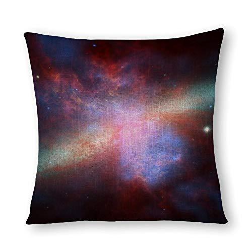 Perfecone Home Improvement - Funda de almohada de algodón doble NASA (rayos X), imagen infrarroja de M82 sofá y coche, 1 paquete de 55 x 55 cm