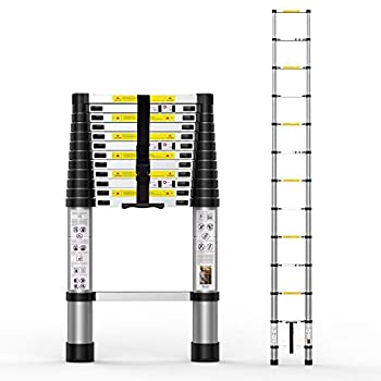 Telescoping Extension Ladder 12.5FT Aluminum Telescopic Ladders with Carry Bag for Outdoor Indoor Use