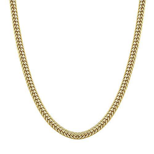 KRKC&CO Collana Uomo 3mm Collana a Catena Franco Hip Hop 14k Placcata Oro/Oro Bianco Franco Chain in Stile Hip Hop Rapper Street Wear Urban 51-56cm (14K Oro, 55.88)
