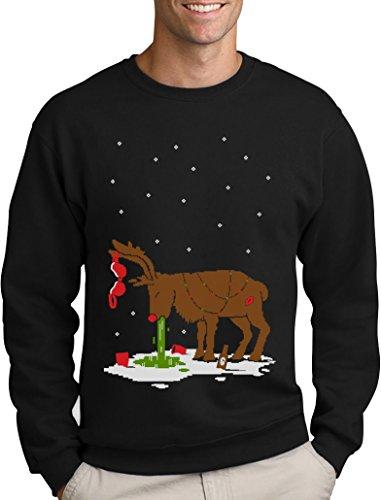 Green Turtle T-Shirts Witziges Ugly Sweater Geschenk Verkatertes Rentier Sweatshirt X-Large Schwarz