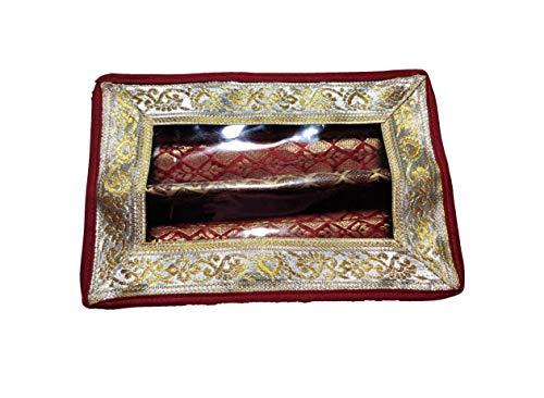 HoitoDeals Caja de joyería de 2 varillas de color granate para tocador, accesorios de regalo (1 unidad)