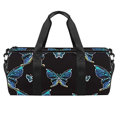 Piccola borsa da palestra sportiva con farfalla blu e borsa da viaggio cilindrica con tasca bagnata leggera borsa da allenamento da viaggio con tracolla per uomini e donne