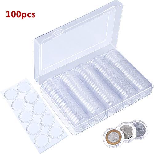 B•You Capsulas Monedas 100 Unidades Transparente Funda de Moneda Redondo Espuma Protectora in Caja Organizadora de Almacenamiento para Colección de Monedas (25mm/27mm/30mm)