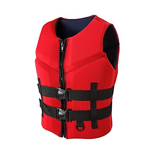 Chaleco de Vida Chaleco, Neopreno, Suave y cómodo, Alta flotabilidad, Resistente al Desgaste, Esencial y cálido.-Rojo_XXL