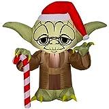 Gemmy 3' Airblown Yoda w/Santa Hat Star Wars Christmas Inflatable
