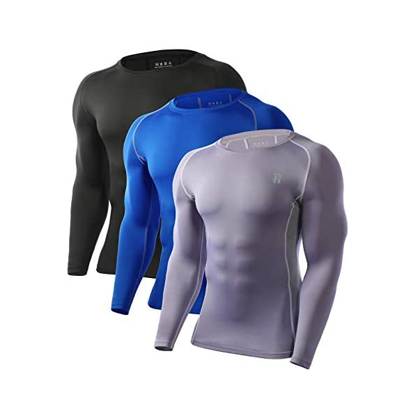 Runhit 3 Pack Men's Long/Short Compression Shirts