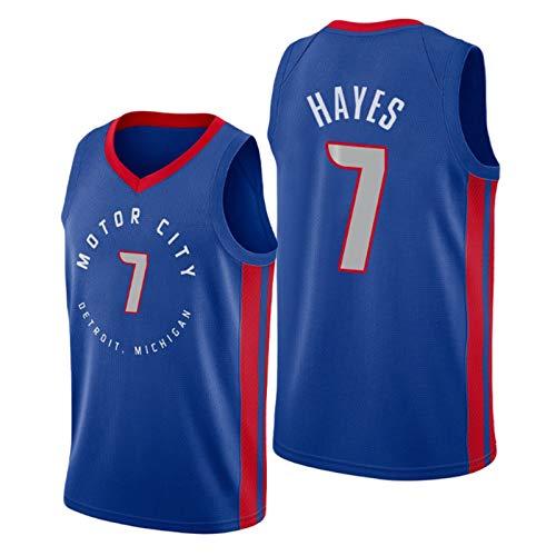 Pistones de Camiseta de Baloncesto # 7 Hayes, Hombre de Deportes absorbentes y Transpirables Transpirables, Chaleco Deportivo al Aire Libre par Blue-XXL