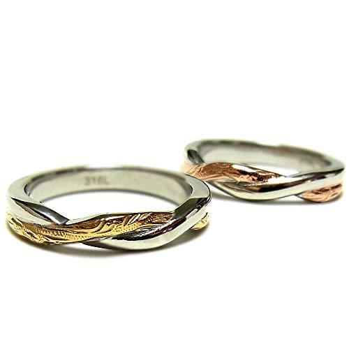 ペアリング ペアハワイアンジュエリー リング 指輪 スクロール プルメリア サージカルステンレス 花 写真フレーム フラワー イエローゴールド:19号 ピンクゴールド:7号