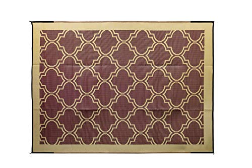 Camco Large Reversible Outdoor Patio Mat - Mold and Mildew Resistant, Easy to Clean, Perfect for Picnics, Cookouts, Camping, and The Beach (9' x 12', Brown Lattice Design) (42857)