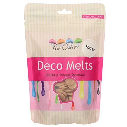 FunCakes Deco schmilzt Toffee-Geschmack 250 g - tauchen, tropfen, nieseln und dekorieren! In der Mikrowelle schmelzen und in jede Form gießen. Machen und dekorieren Sie Kuchen, Kekse und Cupcakes!