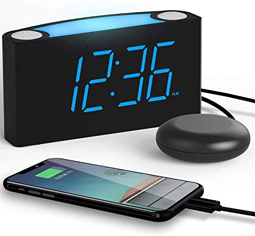 ROCAM Loud Alarm Clock with Vibrating Shaker Bed, Large LED Display with Dimmer,...