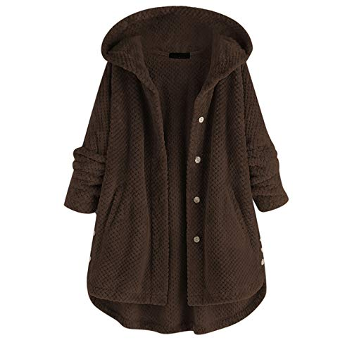 Sudadera con capucha para mujer de forro polar más el tamaño botón caliente casual bolsillo color sólido con capucha manga larga Tops invierno Outwear abrigo, café, XXL