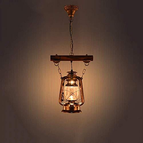 XAJGW Altes Boot aus Holz Laterne Vintage Kerosin Kronleuchter LOFT antike Nostalgie Metall Holz Lampe Retro Anhänger hängen Licht für Haus Loft Flur Wohnzimmer Bar Restaurants Café Club