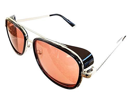 Lovelegis Gafas de sol iron man - steampunk - tony stark - retro - hombre - unisex - montura plateada - lente roja