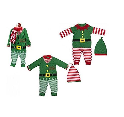 Elves Behavin Badly Bambino / Baby Elf Outfit di Natale. Rompicapo e Cappello. 2 Disegni (6-9 Mesi, Verde Striato)