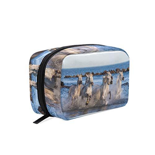 Bolsa de maquillaje, color blanco, diseño de caballos de camarote