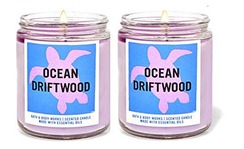 Bath and Body Works Ocean Driftwood Single Wick Candle (2 Pack) - 7 oz / 198 g Each