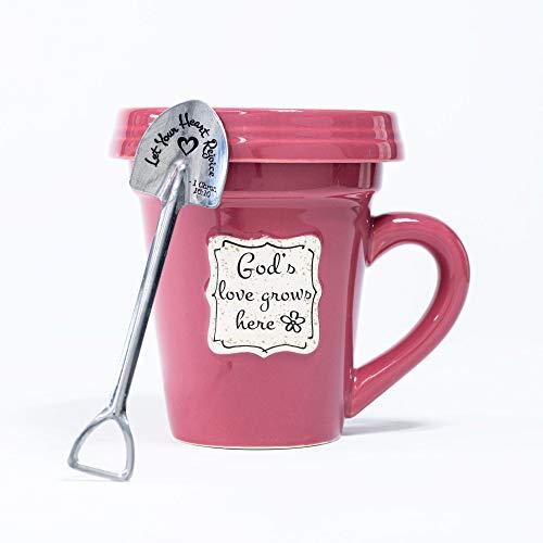 Divinity Boutique Flower Pot Mugs, 14oz, God's Love Red