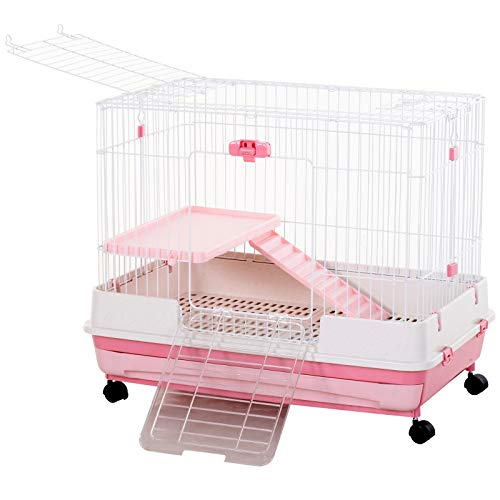 """PawHut 32""""L 2-Level Indoor Small Animal Rabbit Cage with Wheels - Black"""