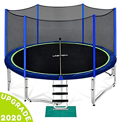Zupapa 12 FT Trampoline for Kids with Safety Enclosure Net 375 LBS Weight Capacity Outdoor Trampolines with Non-Slip Ladder Rain Cover