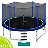 Zupapa 12 14 15 FT Trampoline for Kids with Safety Enclosure Net 375 LBS Weight Capacity Outdoor Trampolines with Non-Slip Ladder Rain Cover
