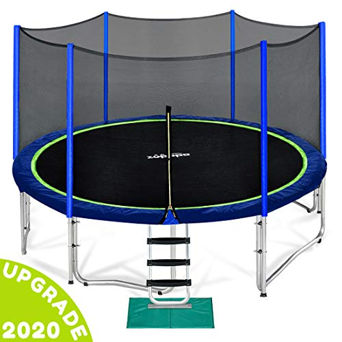 Zupapa 15 14 12 Ft TUV Approved Trampoline with Enclosure Net and Pole and Safety Pad and Ladder and Jumping Mat and Rain Cover Size 14 Feet