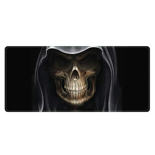 Meffort Inc Extra Large Extended Gaming Desk Mat 34.75 x 15.25 inch XXL XXLG Mouse Pad - Skull Face