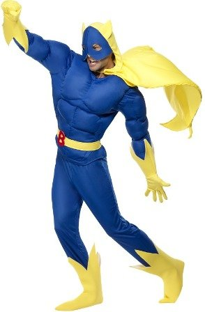 Smiffys Licenciado oficialmente Costume rembourré Bananaman, Bleu, Haut, pantalon, cape, ceinture, gants et couv