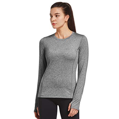 Ogeenier Donna Maglia Termica T-Shirt Invernale Maniche Lunghe Maglie Sportive ColdGear con Fori per i Pollici