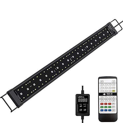 NICREW SkyLED RGB+W 24/7 Luz Acuario, Luz LED Multiespectral para Acuario, Pantalla LED Acuario con Control Remoto, Iluminación LED para Acuarios 58-70 cm, 21 W, 1050 LM