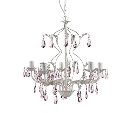 Onli 4920/5R klassieke plafondlamp met druppels in roze kristal, ivoor