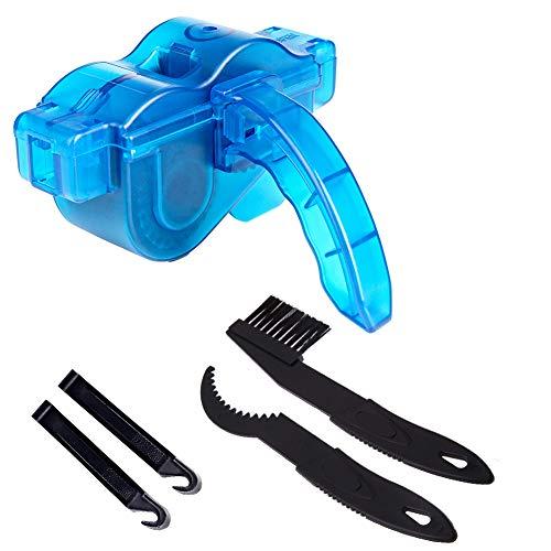 JTENG Fahrrad Kettenreinigungsgerät Fahrrad Kettenreiniger Reinigung Scrubber Pinsel-Werkzeug im Set mit Ritzelbürste Schnelles Sauberes Werkzeug für Alle Arten von Fahrrad Kettenreinigung, Blau