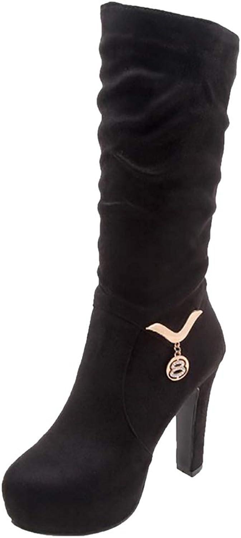RizaBina Women High Heel Mid Calf Boots Pull On