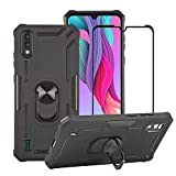 BestAlice for ZTE Blade A5 2020 Case with Tempered Glass Screen Protector, Hybrid Heavy Duty Protection Shockproof Defender Kickstand Armor Case Cover,Black
