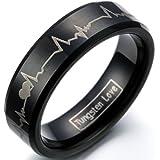 JewelryWe Schmuck 6mm Schwarz Wolframcarbid Damen-Ring mit Laser Forever Love & Herzschlag Partnerringe Verlobung Hochzeit Band Größe 47 bis 78