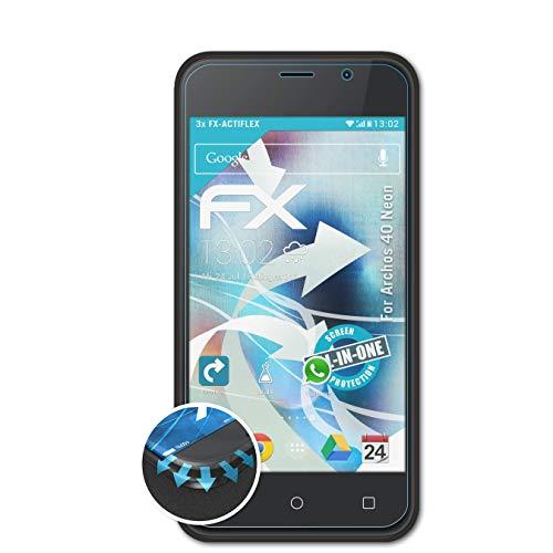 atFolix Schutzfolie kompatibel mit Archos 40 Neon Folie, ultraklare & Flexible FX Bildschirmschutzfolie (3X)
