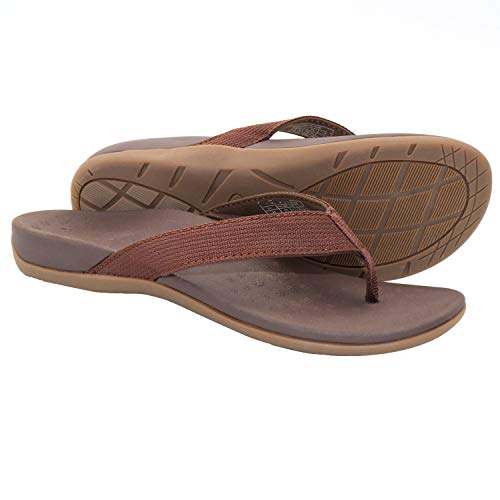 IRSOE Plantar Fasciitis Women Sandals Arch Support Orthotic Flip Flops Cushioned for Flat Feet/Heel Pain, Slippers Sandal for Beach/Casual/Indoor Brown