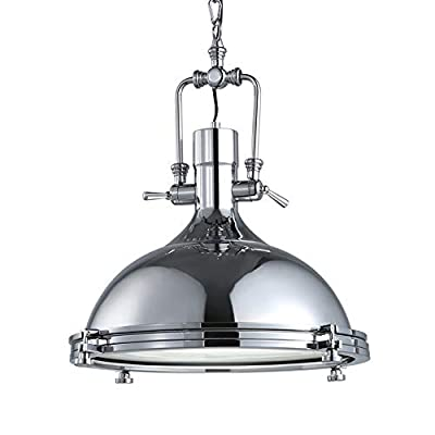 "KIRIN Lighting Nautical Chandelier Industrial Farmhouse Pendant Light with Round Fresnel Glass Lens Fixture in Chrome, Adjustable Hanging Height (15.75"")"