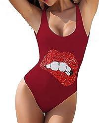 Wine Red-lips One Piece Swimsuits Sequin Swimwear