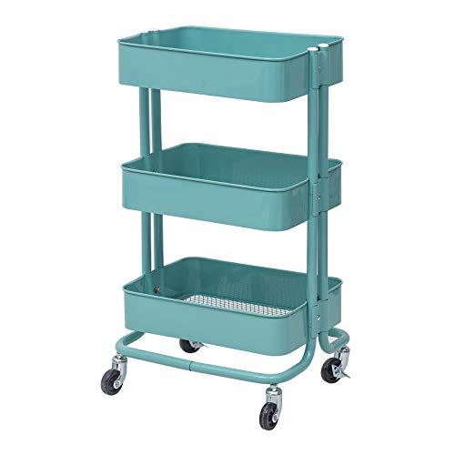eSituro Servierwagen Küchenwagen Rollwagen Metal für Küche Bad Büro Mint SDGC0010