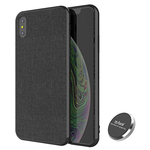 iPhone XR Magnetic Case,Full-Edge Protection Shock Absorption and Built in Magnet Protective Hard Shell with Textured Fabric Case Slim Fit Shockproof Magnetic Back for iPhone XR Case (2018) (Black)