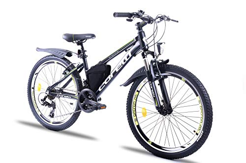 Corelli Twister Mountainbike 20 Zoll, 24 Zoll oder 26 Zoll mit Aluminium-Rahmen, V-Brake, Shimano 21 Gang-Schaltung, Gabelfederung, als Damen-Fahrrad, Mädchen-Fahrrad, Kinder-Fahrrad. (Kiwi, 24.0)
