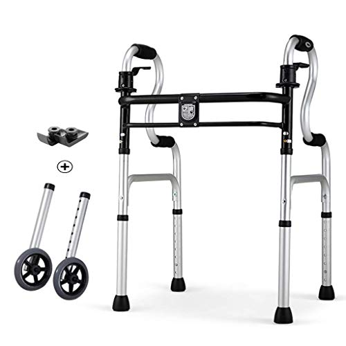 Generic Brands Walker Folding Aluminum Alloy Frame Deluxe 2 Button with Front 5' Wheels Adjustable Height Black for People with Limited Mobility