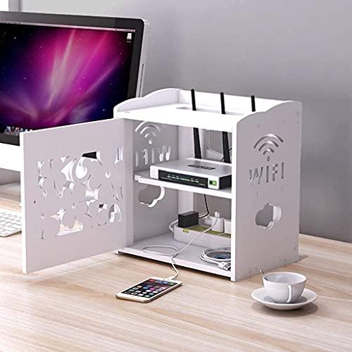 KAXO Estante Flotante Caja de Alenamiento Blanco para Gabinete de Tv, Enrutador, Socket Wifi, Caja de Cable, Alenamiento de Control Remoto Y Caja de Clasificación Blanca