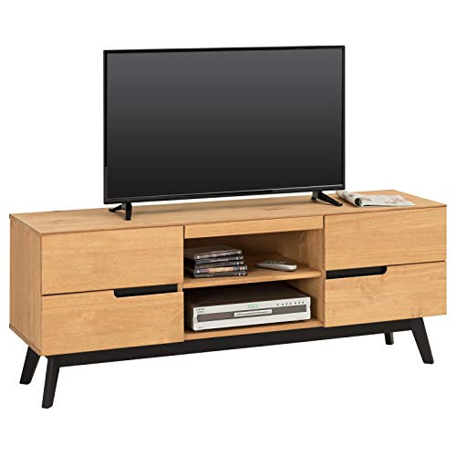 IDIMEX Lowboard TV Möbel Tibor, Fernsehtisch Fernsehschrank HiFi Möbel im nordisch skandinavischen Stil mit 4 Schubladen 1 offenes Fach, Kiefer massiv braun gebeizt