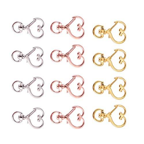 YuuHeeER Llavero garra corchete corazón anillo titular acollador langosta ganchos para bolsa clave plata oro joyería fabricación suministros