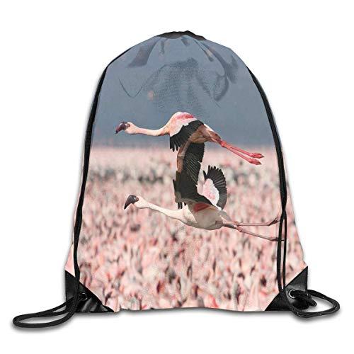 uykjuykj Tunnelzug Rucksäcke, Drawstring Bag Flying Flamingo Love Gym Hiking Travel Designer Color 01 Lightweight Unique 17x14 IN