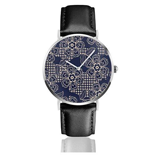 Eklektische Stoff Plaid Barock Lederarmband Armbanduhren Freizeituhren